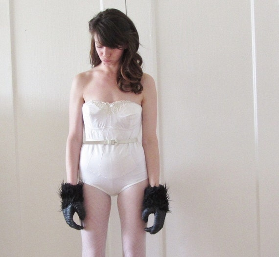 strapless bridal leotard . retro bodyshaper .small.medium