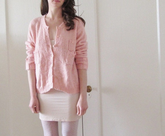 pink grapefruit cardigan sweater . pockets GALORE .medium.large .sale s a l e