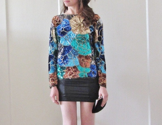 sequin floral blouse . metallic cocktail party top .small.medium