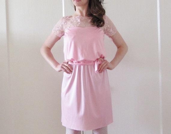 lace illusion dress . blush pink sheer sweetheart bust .medium