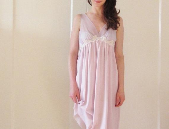 sheer lilac slip dress . pale purple floral lace .medium