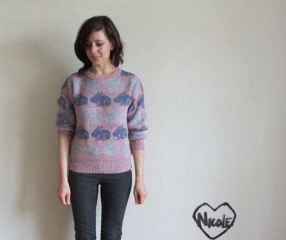 bunny BUNNIES sweater . lilac pink aqua shetland wool .medium
