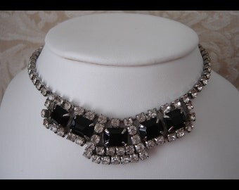 Old French Jet Black Rhinestone Necklace