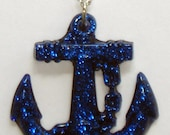 Blue glitter anchor necklace