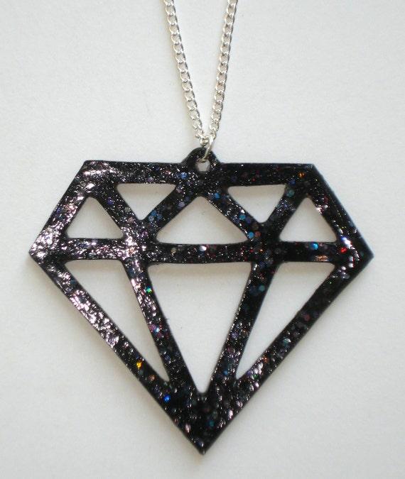 Black glitter scene girl diamond necklace