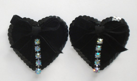 Toxic Glamour Burlesque Beauty black velvet heart bow and crystals nipple pasties