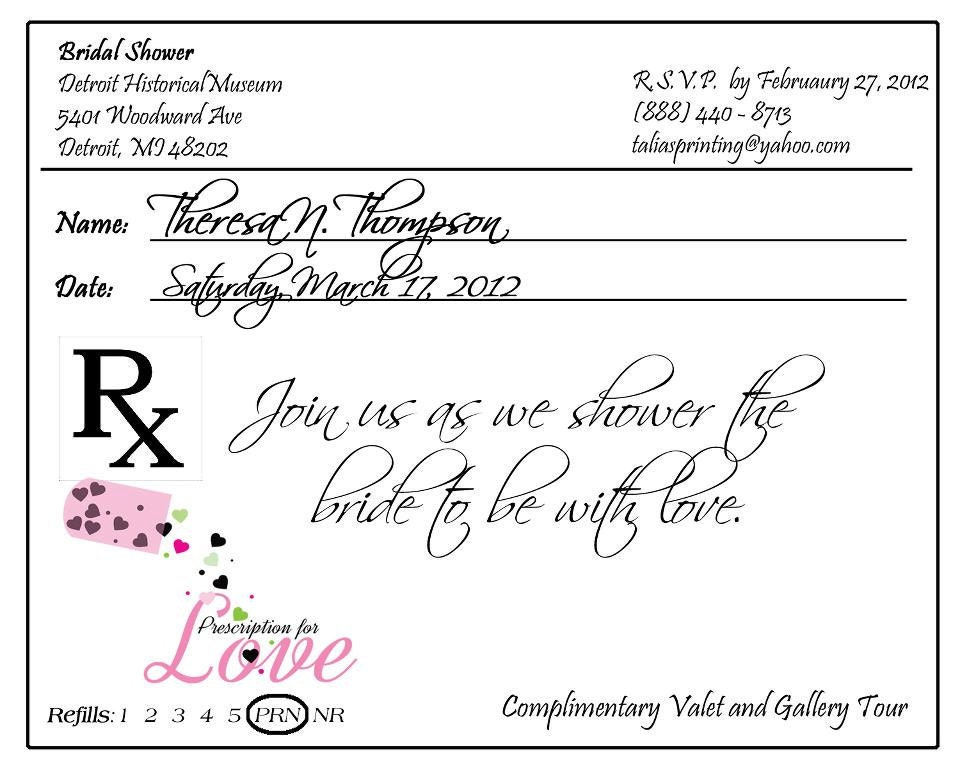 Prescription pad invitation custom listing for krista for Template for prescription pad