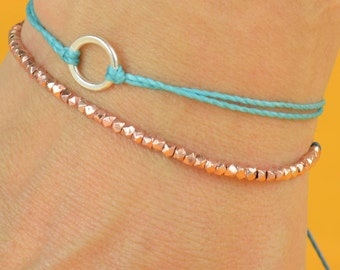 Tiny  rose gold adjustable bracelet