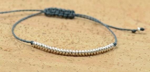 Tiny sterling silver beads   adjustable bracelet