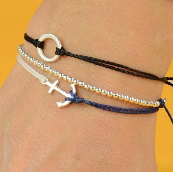 Sterling Silver Anchor charm bracelet. Mens bracelet.Womens bracelet