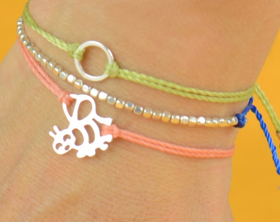 Bee sterling silver  charm bracelet