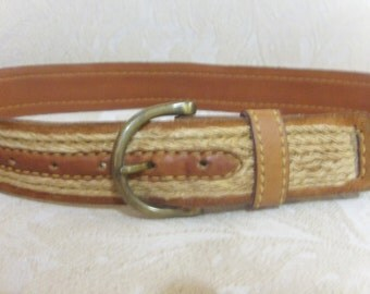 Vintage Harness House  Belt -  Steerhide and woven sisal  size 36/90 M-L
