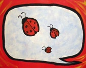 Ladybug Bubble - 11x14 in custom bubble painting