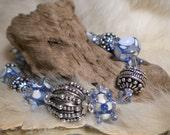 BLUE ICE BRACELET - handmade lampwork and sterling silver