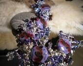 Lampwork Bracelet - Purple Jangle