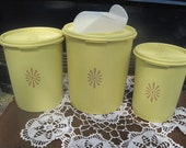 Vintage Tupperware Servalier Nesting Canisters Yellow Set of 3 with Tupperware Scoop