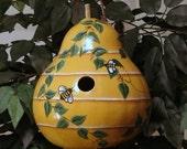 Handpainted Beehive gourd birdhouse