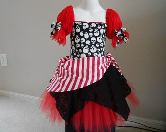 Custom Boutique Red Pirate skull tutu costume 6