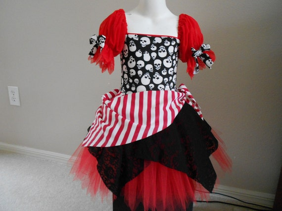 Custom Boutique Red Pirate skull tutu Halloween costume 2t