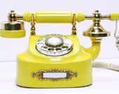 Reserved for Tonje - Refurbished Retro Yellow  Bell Rotary Telephone