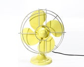 Refurbished Retro Vintage Yellow Electric Fan