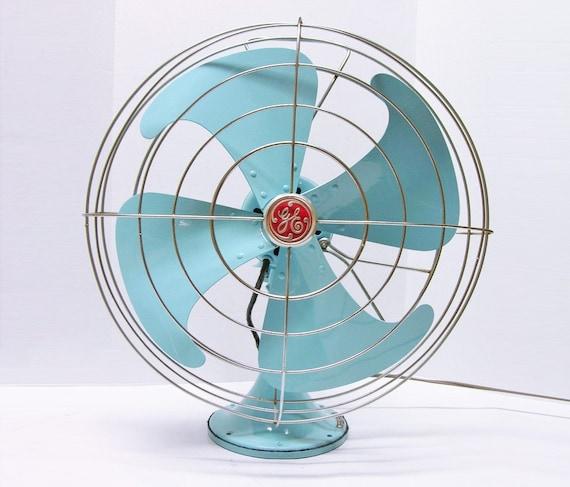 Refurbished Vintage Ge Blue Electric Fan By Fishbonedeco