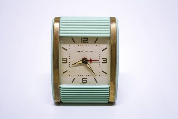 Vintage Blue Westclox Travalarm Wind Up Clock