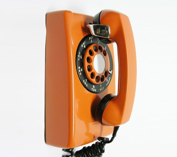 Vintage Retro Orange  Bell Western Electric Rotary Wall Telephone