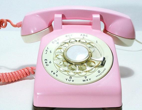 Refurbished Bell Rotary Aqua Pink Phone