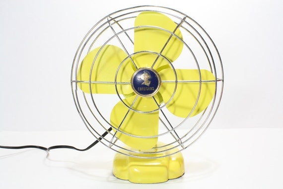 Refurbished Retro Vintage Yellow Coronado Electric Fan