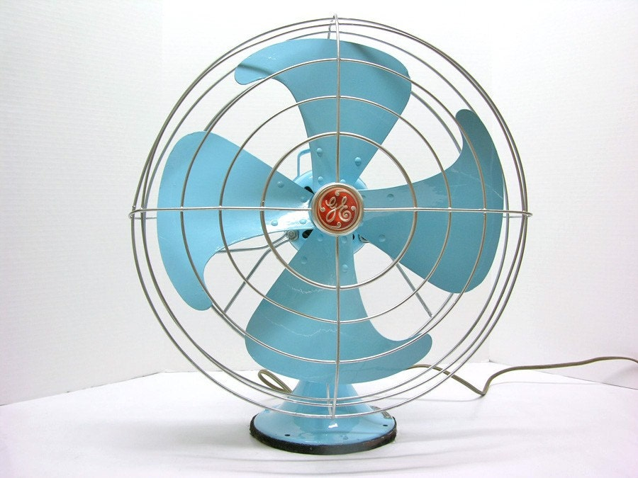 Retro Electric Fans : Refurbished vintage ge blue oscillating electric fan
