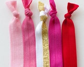 The Cupid Package - 5 Elastic Hair Ties that Double as Bracelets by Mane Message on Etsy