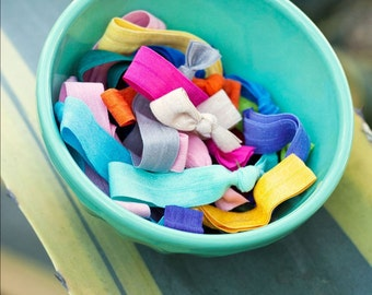 20 Elastic Solid Color Hair Ties that Double as Bracelets by Mane Message on Etsy