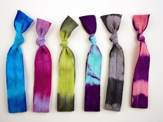 The Iridescent Package - 6 Elastic Tie Dye Hair Ties that Double as Bracelets by Mane Message on Etsy
