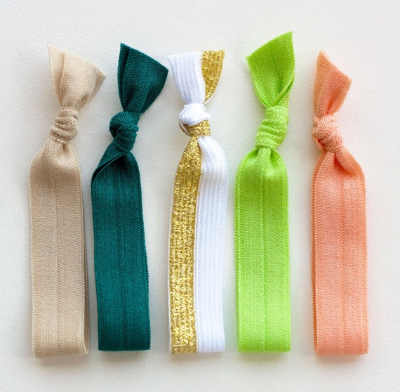 The Clover Package - 5 Elastic Hair Ties that Double as Bracelets by Mane Message on Etsy