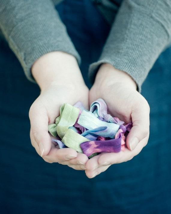 30 Elastic Tie Dye Hair Ties that Double as Bracelets by Mane Message on Etsy