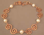 Freshwater pearl and copper S-link bracelet