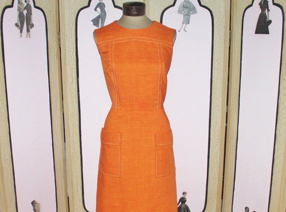 Vintage 1960's Pumpkin Orange Fall Weight Sleeveless Dress. XL. US Shipping Included.