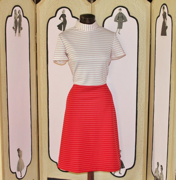Vintage late 60's Red and White Polka Dot Dress. Medium-Large.
