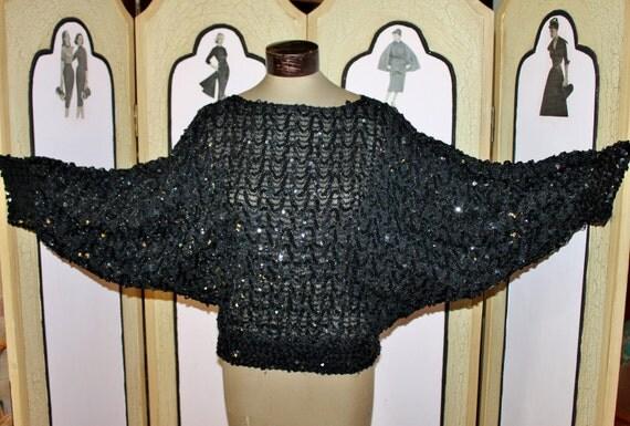 Vintage 1970's Black Sequin Batwing Top.