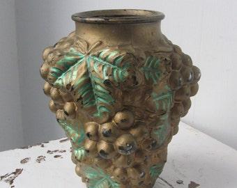Antique Goofus Glass Vase, Grapes, 1920s