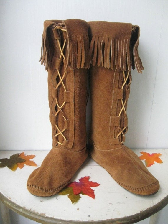 Vintage Boots Moccasins Leather And Suede By By Bigfishlilpond