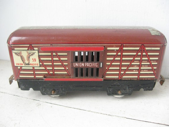 1940's Marx Tin Train Car, Union Pacific 59 Cattle Car