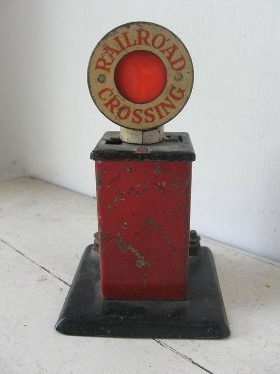 Vintage Tin Train Railroad Crossing Signal, 1930's