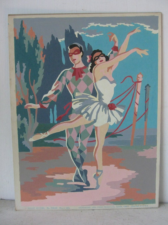 At The Ballet.....1950's Paint By Numbers, Ballet Dancers