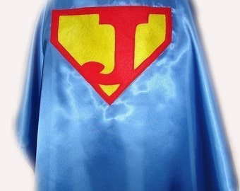 Children's Custom Made Handmade Superhero Personalized Initial Kids Cape for Boys and Girls