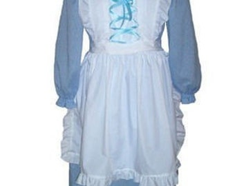 Custom Boutique Halloween LITTLE BO PEEP Adult Size Costume Dress Set in Blue