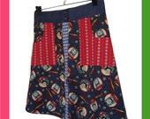 M - Aline Skirt - Mix of vintage fabrics- Train Thomas fabric - by teclur