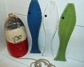 Fish Wall Art Wooden  Set of 3  Distressed  Sea glass Colors  Beach Cottage Wall Decor Nursery