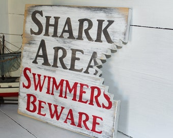Beach Shark Bite Sign Nautical Nursery Or Coastal Decor
